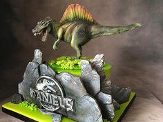 Jurassic Spinosaurus Cake for Dinosaur Birthday Party Dinosaur Cake, Dinosaur Birthday Party, Indian Cake, Spinosaurus, Chocolate Ganache, Cake Pans, Blueberry, Cake Recipes, Cake Decorating