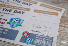 personalised football ticket wedding invite http://www.wedfest.co/match-of-the-day-football-ticket-wedding-invitations/
