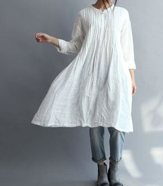 Women Cotton Long Shirt white gown by MaLieb on Etsy