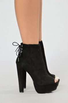 - Available in Black - Lace Up Back - Peep Toe - Inner Zipper - Faux Suede - 5…