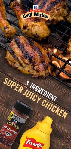 You're only three ingredients away from Super Juicy Chicken. Simply coat chicken with a kick of tangy mustard and sprinkle McCormick Grill Mates Sweet & Smoky Rub all over. The grill will do the rest! Grilling Recipes, Diet Recipes, Cooking Recipes, Healthy Recipes, Salmon Recipes, Recipes Dinner, Simple Recipes, Grilling Ideas, Hibachi Recipes
