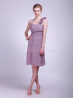69% off Regency Chiffon Sheath Bridesmaid Gown Knee-length with Hand-made Flowers MS57KV196