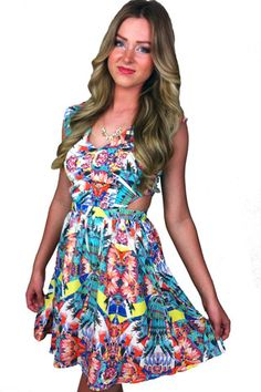 Floral Flare Side Cutout Dress