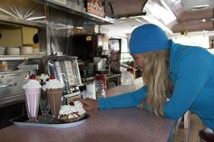Athlete Jess McMillan at Rosie's Diner in Aurora, CO. On her way to Telluride for the filming of Warren Miller's 63rd film Flow State!