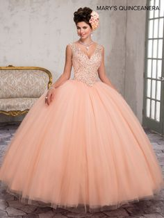 Mary& Bridal tulle quinceanera ball gown with beaded V-neck bodice, basque waist line, illusion back with zipper closure, and sweep train. Two Piece Quinceanera Dresses, Robes Quinceanera, Sweet 16 Dresses, 15 Dresses, Wedding Dresses, Quinceanera Collection, Mary's Bridal, Robes D'occasion, Quince Dresses