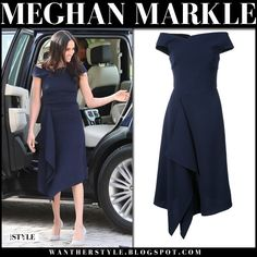 Meghan Markle in navy off shoulder midi dress and grey pumps #fashion #style #royalfamily #royals #princess