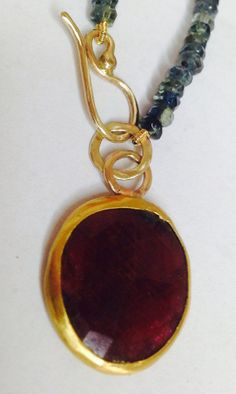 22 k pendent ruby with sapphire necklace in the by salomea100, $520.00