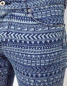 aztec pattern blue jeans! want