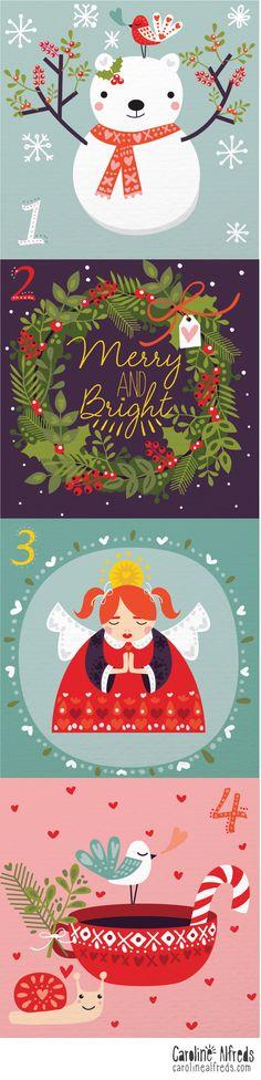 Caroline Alfreds illustrated advent day 1-4