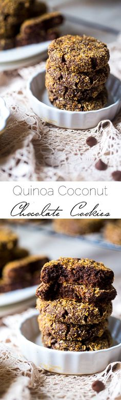 Quinoa Coconut Chocolate Cookies - These gluten free cookies are SO soft, chewy and loaded with chocolate! They're made with quinoa flour and natural sugar for a healthier treat that is easy to make! | Foodfaithifitness.com | @FoodFaithFit