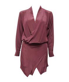 MAURIE AND EVE  jagger drape dress  SHOP NOW > http://www.threadbare.co/collections/designers-clothing/products/jagger-drape-dress-1  #maurieandeve #wine #longsleeve #minidress #asymmetric #silk