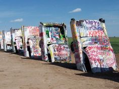 This is awesome! Talk about one wacky roadside attraction... love seeing this kinda stuff when out on a road trip, camping or RVing! You? (Cadillac Ranch in Amarillo, Texas)