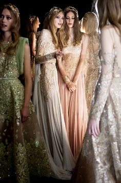 Backstage at Elie Saab Autumn/Winter 2015-2016 Couture at Paris Fashion Week.