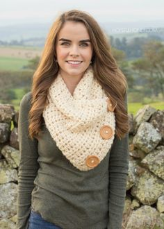 Basic Chunky Button Scarf Crochet Pattern