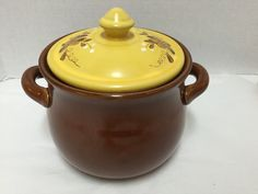 Ceramic Cookware Crock Pot for Oven 2 Handles Painted Floral Brown Yellow #Unbranded