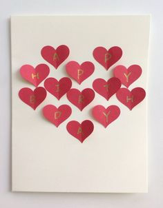 Red Heart Collage Handmade Postcard Card Romantic Gift For Girlfriend Boyfriend Birthday