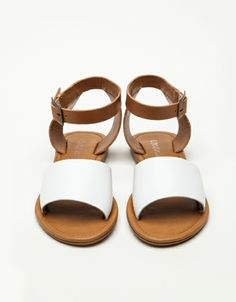 white and leather sandals