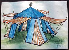 Found the inspiration for turning my pop-up screened in gazebo into a medieval-ish tent. I know a lot of people that would want to do this!