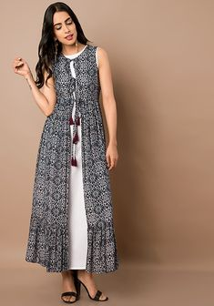 Indo Western Dresses – Buy Indo Western Wear for Women Online – Indya Black White Floral Print Maxi Jacket Indian Gowns Dresses, Women's Dresses, Stylish Dresses, Dress Outfits, Casual Dresses, Dance Dresses, Dresses Online, Frock Fashion, Fashion Dresses