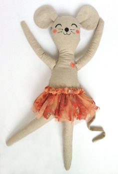Mimi the mouse ballerina doll with vintage tulle by MiniBoheme, $40.00
