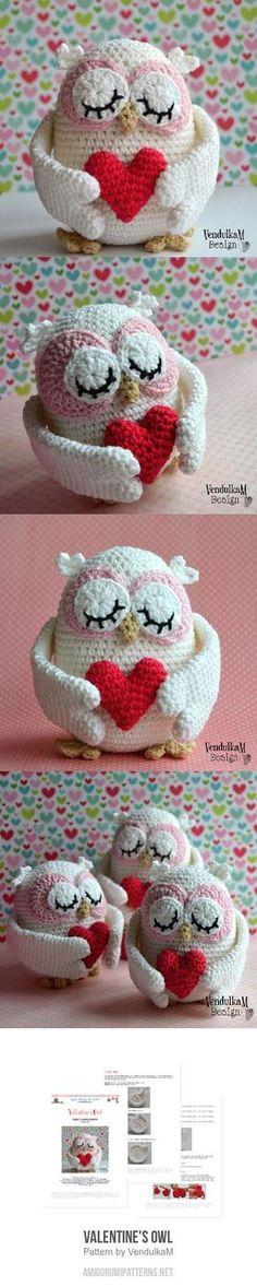 Valentine's Owl Amigurumi Pattern Owl Patterns, Baby Knitting Patterns, Amigurumi Patterns, Loom Knitting, Crochet Patterns, Crochet Ideas, Crochet Birds, Crochet Animals, Yarn Projects