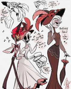 """""""I've been in the mood to doodle Rosie since seeing Poppins Returns. Her relationship with Alastor is very similar to the one between Mary and Jack 🎶💖 I am so so excited to bring Rosie into the series, she's one of my personal favorites! H Hotel, Hazbin Hotel Husk, Alastor Hazbin Hotel, Hotel Trivago, Vivziepop Hazbin Hotel, Fandoms, Fan Art, Hello Dolly, Cartoon Art"""