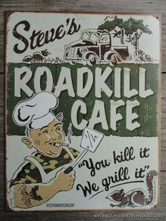 LARGE VINTAGE STYLE ROADKILL CAFE DECORATIVE METAL WALL SIGN