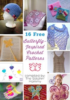 16 Free Butterfly Crochet Patterns compiled by The Stitchin' Mommy | http://www.thestitchinmommy.com