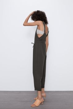 Long jumpsuit with straight neckline and wide straps. adjustable drawstring elastic waist at back. Pleated Jumpsuit, Zara Jumpsuit, Zara Outfit, Long Jumpsuits, Zara United States, Overall, Mannequin, Elastic Waist, Neckline