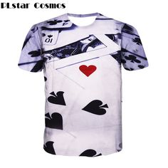 PLstar Cosmos Brand clothing 2017 Summer New Fashion T-shirts Poker harajuku style 3D t shirt Casual Men Women plus size M-XXL #Affiliate