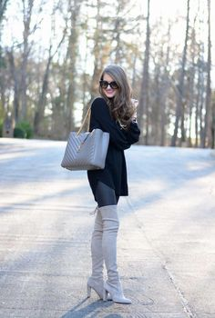 Southern Curls and Pearls (Caitlin) in Stuart Weitzman Highland Grey Boots Outfit, Thigh High Boots Outfit, Over The Knee Boot Outfit, Over Boots, Black Boots, Stuart Weitzman, Fall Winter Outfits, Autumn Winter Fashion, Southern Curls And Pearls