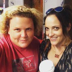 Jen Kirkman (right) wearing the Ideal Woman Necklace: Evolution of the Bikini Line with fellow comedian Fortune Feimster (left)
