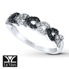 Loops of Blackberry Diamonds® and Vanilla Diamonds® create this exciting ring from Le Vian®. Crafted of 14K Vanilla Gold®, the ring has a total diamond weight of 1/3 carat. Blackberry Diamonds® are treated to permanently create the intense black color. Le Vian®. Discover the Legend. Diamond Total Carat Weight may range from .29 - .36 carats.