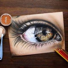 Original realistic eye drawing Size: Medium: colored pencils and pan pastels on paper Pencil Drawing Tutorials, Pencil Art Drawings, Art Tutorials, Cool Drawings, Realistic Eye Drawing, Drawing Drawing, Eye Sketch, Eye Painting, Eye Photography