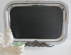 Using Dollar Store metal trays, apply chalkboard paint so each child has their own writing tray. Chalkboard Cake, Chalkboard Markers, Large Chalkboard, Magnetic Chalkboard, Dollar Store Crafts, Dollar Stores, French Wedding Decor, Beetlejuice Wedding, Teacher End Of Year