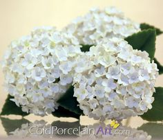 Handcrafted white hydrangeas by ColdPorcelainArt www.etsy.com/shop/coldporcelainart