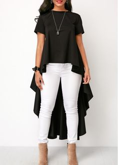 Round Neck Short Sleeve Black High Low Blouse | Rotita.com - USD $33.98