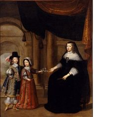 Anne of Austria (1601-1666) with her sons Louis XIV and Philippe d'Orleans, c. 1640's, workshop of Charles Beaubrun (1604-1694) (National Museum of Sweden)