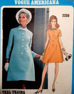 1970's Vintage Vogue Americana TEAL TRAINA Dress Sewing Pattern #2259