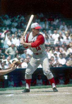 Cincinnati Reds first baseman Pete Rose in action during the 1965 season.