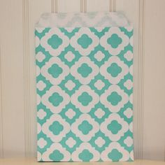 Party Favor Bags -- Mod Print -- Aqua (1 Pack of 24) - Party Supplies and wholesale manufacturer of printed paper straws, Favor Bags and other modern trendy paper party goods
