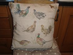 Beautiful game birds fabric by Scottish company Voyage. Pattern placement varies with each cushion. Lounge Curtains, Game Birds, Fabric Birds, Cushions, Crafty, Cool Stuff, Games, Pattern, Color