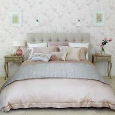 light gray and pink color scheme for bedroom decorating