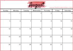 27 Best August Calendar 2018 images | 2018 calendar excel, August