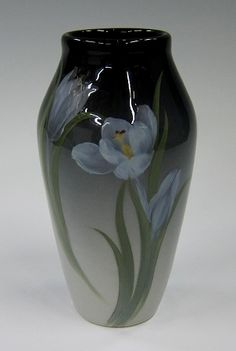 Rookwood Art Pottery Vase with white tulips, by Fred Rothenbusch, 1903. Iris Glaze. $3,500.00