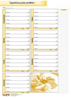 tygodniowy planer posiłków żółty