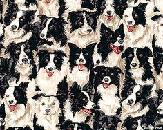Border Collie Fabric  Winter Black & White by FabricAndTreasures, $7.95
