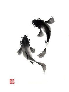 Koi (Carp) - Sumi-e (wash drawing) Japanese Ink Painting, Sumi E Painting, Chinese Painting, Chinese Art, Chinese Brush, Japanese Watercolor, Painting Tattoo, Art Koi, Fish Art