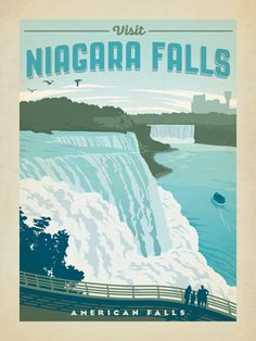 "Niagara Falls - We know, Niagara Falls is a State Park, not a National Park. But it is grand enough to be included in this collection of spectacular American outdoor destinations. This print celebrates the awesome majesty of Niagara Falls as seen from the American side. NOTE: Please allow 2 extra days when ordering 11"" x 14"" mini print."