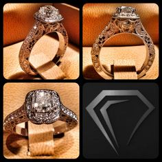 """For this piece, the client asked me to incorporate several subtle personal elements for his bride-to-be. The design work on the side of the ring is meant to symbolize horseshoes, for her love of equestrianism, and her initial """"C"""" done with black diamonds. Her father has affectionately called her his """"Black Diamond"""" ever since she was a young girl. These personal touches distinguish us from the competitors. Each piece created at The Diamond Studio will always be unique and exclusive!"""